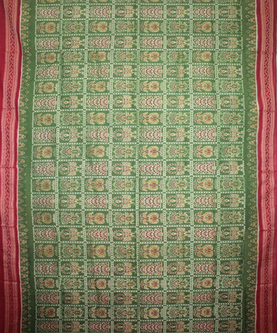 Handwoven Sambalpuri Ikat Cotton Saree in Parrot Green and Maroon