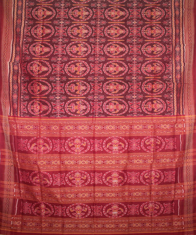 Handwoven Sambalpuri Ikat Cotton Saree in Maroon