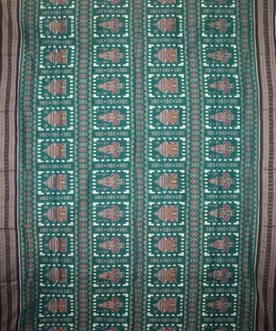 Handwoven Sambalpuri Ikat Cotton Saree in Sea Green and Black