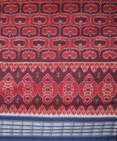 Handwoven Sambalpuri Ikat Cotton Saree in Maroon and Blue