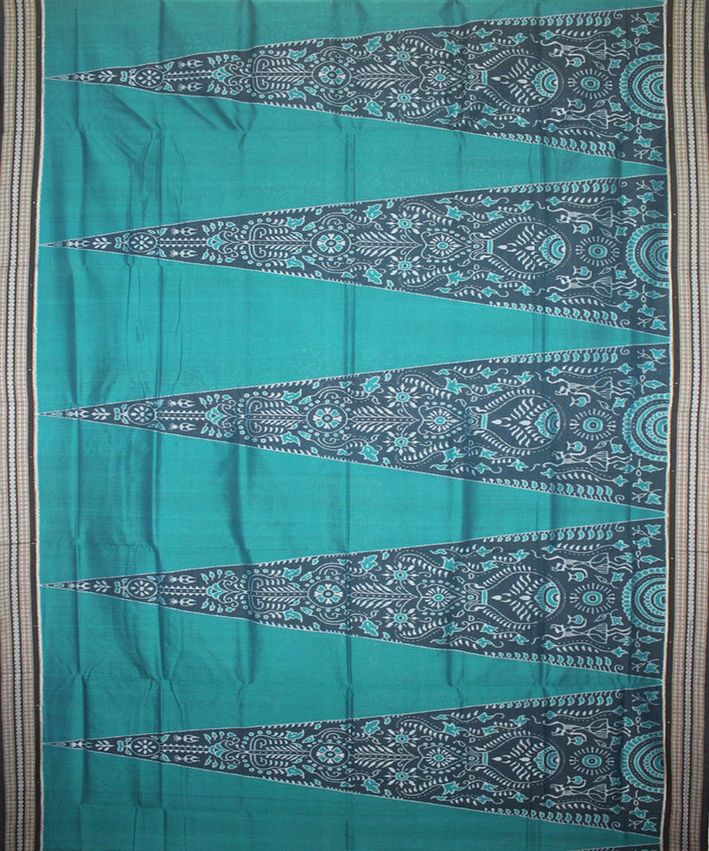 Handwoven Sambalpuri Ikat Cotton Saree in Ball Blue and Black