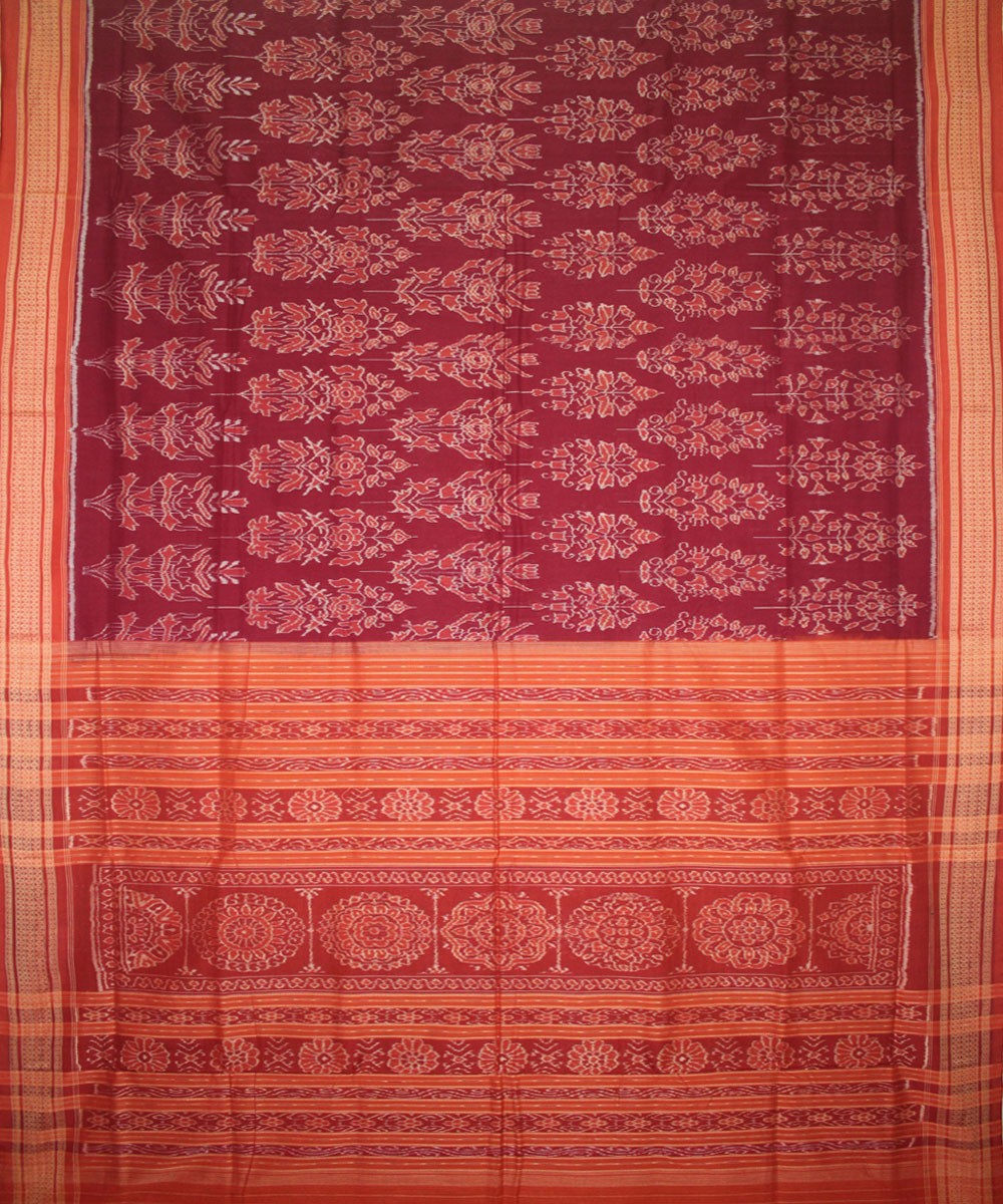 Handwoven Sambalpuri Ikat Cotton Saree in Maroon and Rust