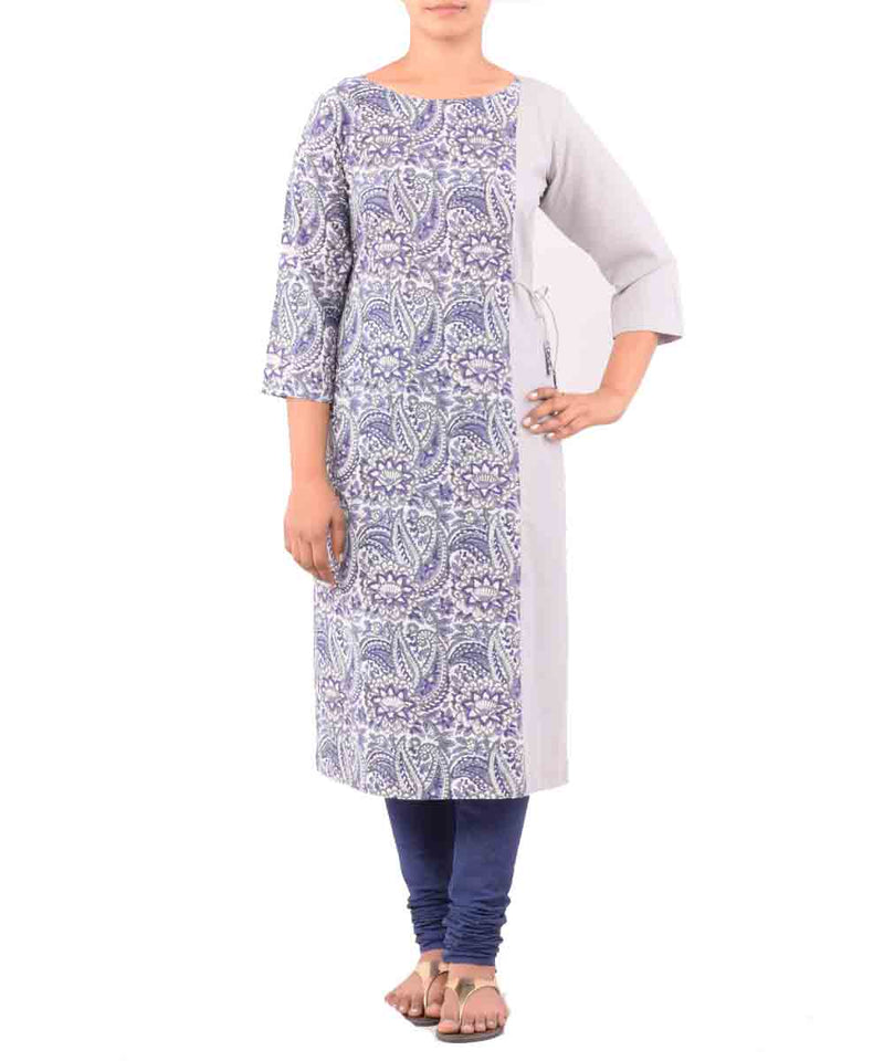 Grey With Mauve Handwoven Printed Kurti