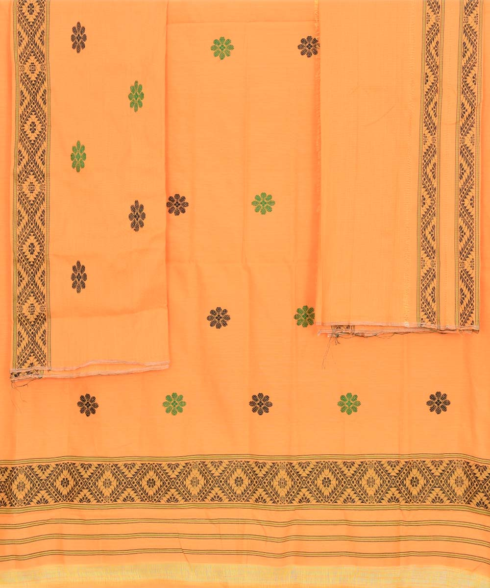 Handwoven Carrot Orange Cotton Mekhela Chador