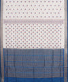 White Light Blue Handwoven Bomkai Silk Saree