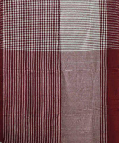 Handwoven Rosewood and White Cotton Saree