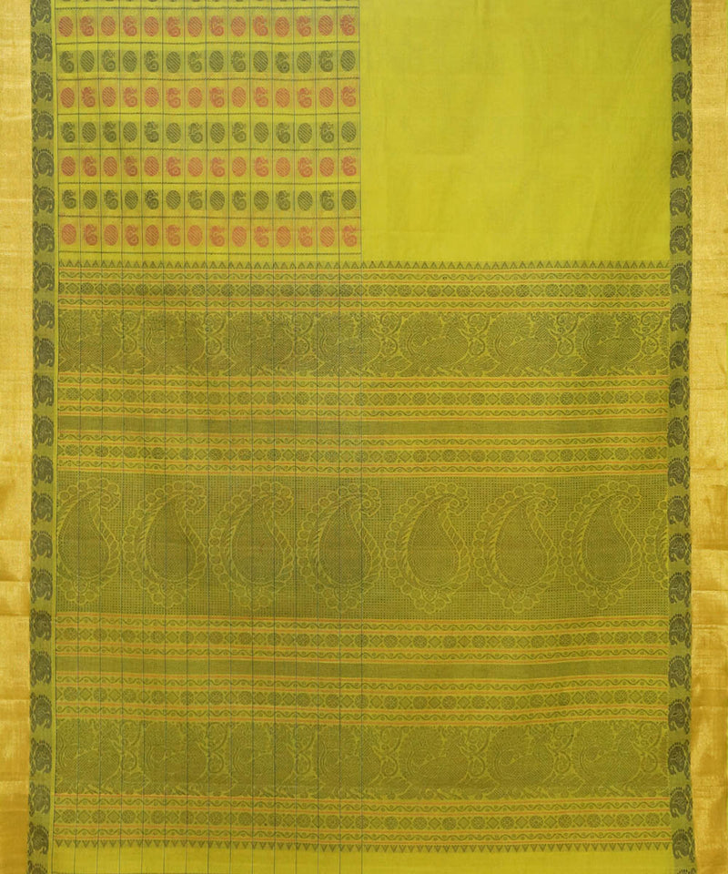 Thousand Butta Lime Handwoven Kanchi Saree
