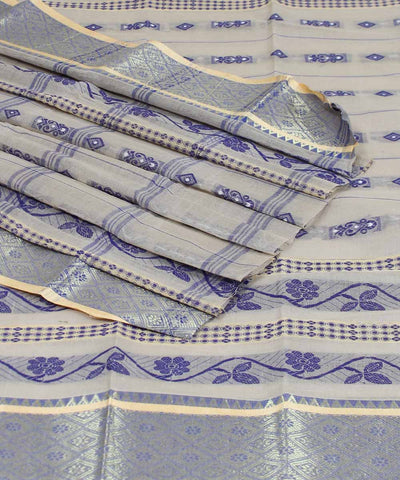 Bengal Handwoven Cream Purple Tant Saree