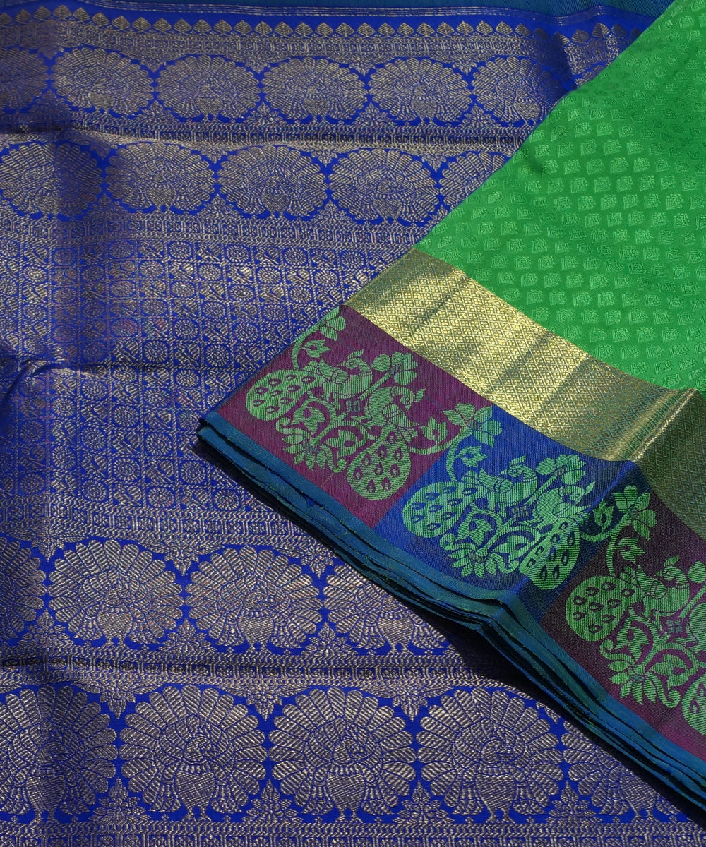 Green Blue Handwoven Arni Silk Saree