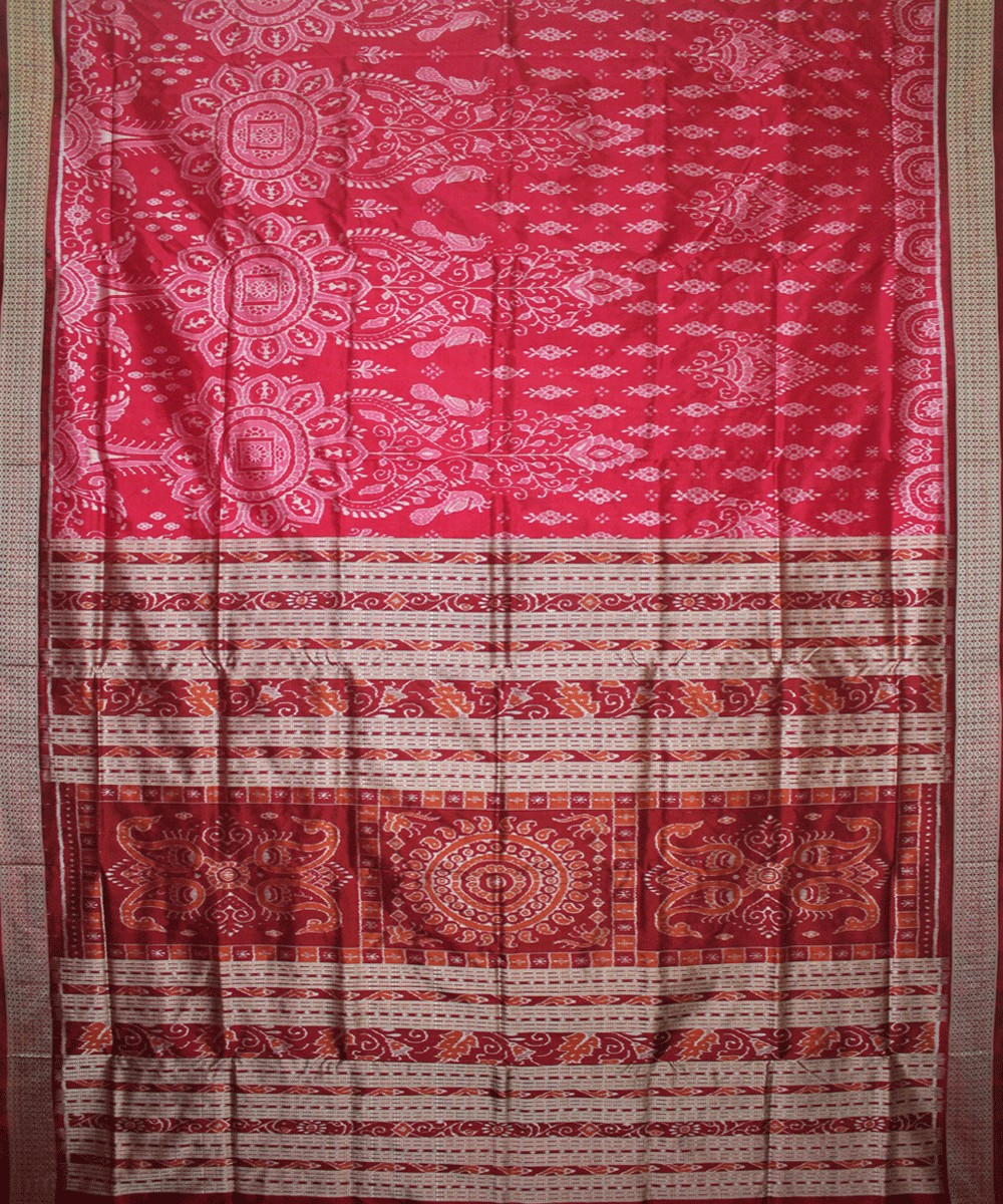 Handwoven Sambalpuri Ikat Silk Saree in Deep Pink and Maroon