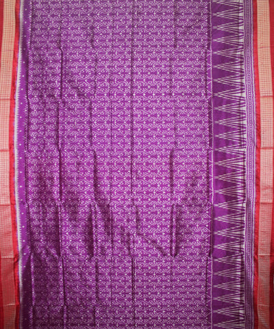 Handwoven Sambalpuri Ikat Silk Saree in Purple and Red