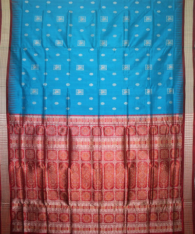 Handwoven Patli Bomkai Silk Saree of Sonepur in Ball Blue and Maroon