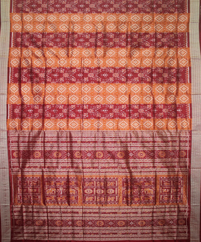 Handwoven Pasapalli Silk Saree in Peru and Maroon