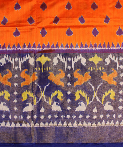 Orange and Royal Blue Handloom Ikat Rajkot Silk Saree