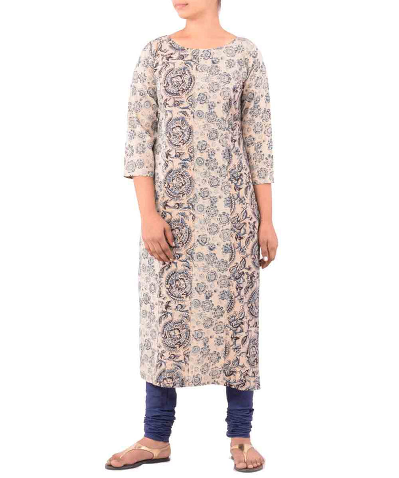 Beige With Black Blue Hand Printed Kurti