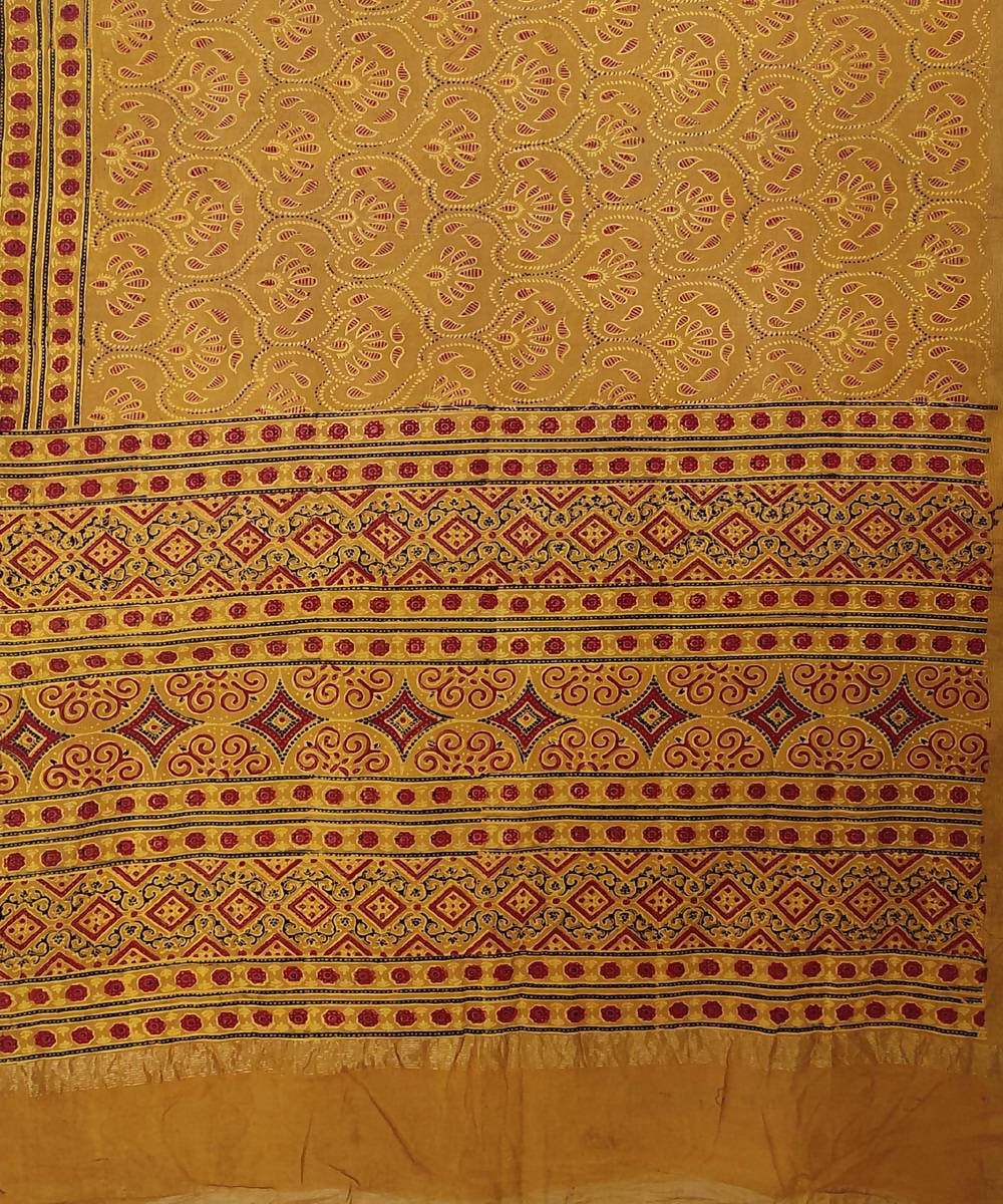 red Ajrakh Handblock on yellow ochre Handloom Cotton zari Saree