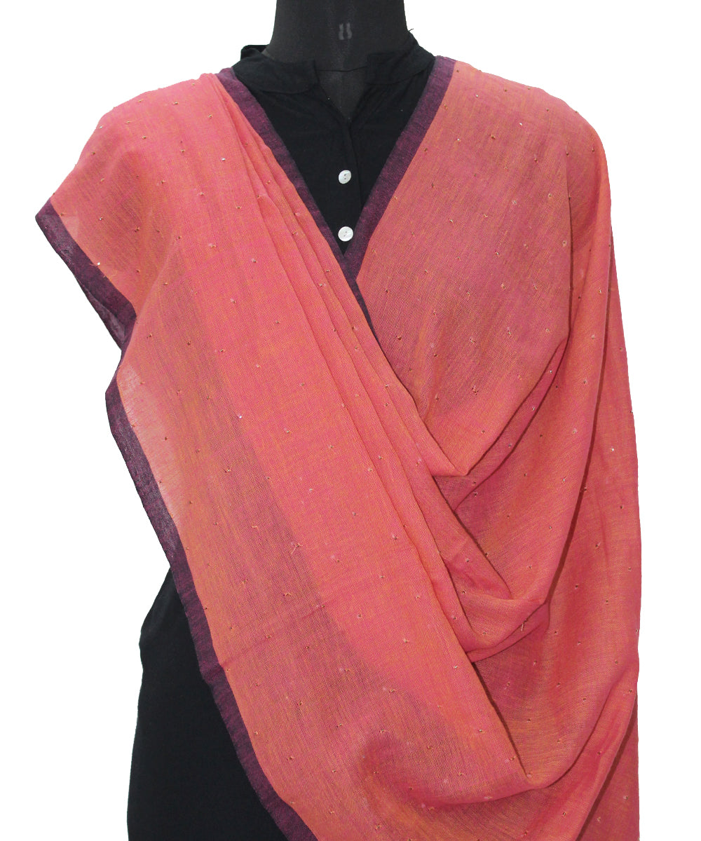 Handwoven Coral Pink Cotton Dupatta