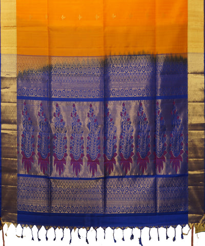 Yellow and Navy Blue Handloom Soft Silk Saree
