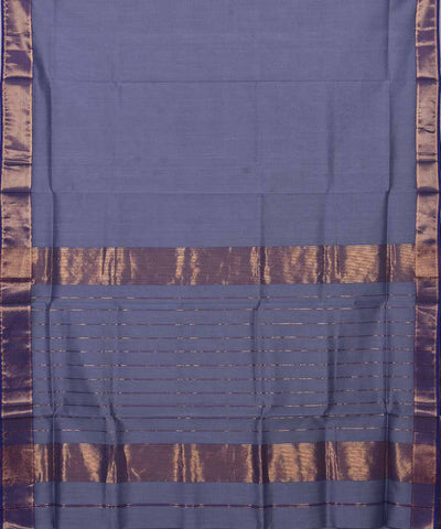 Maheshwari Handloom Grey Blue Sico Saree