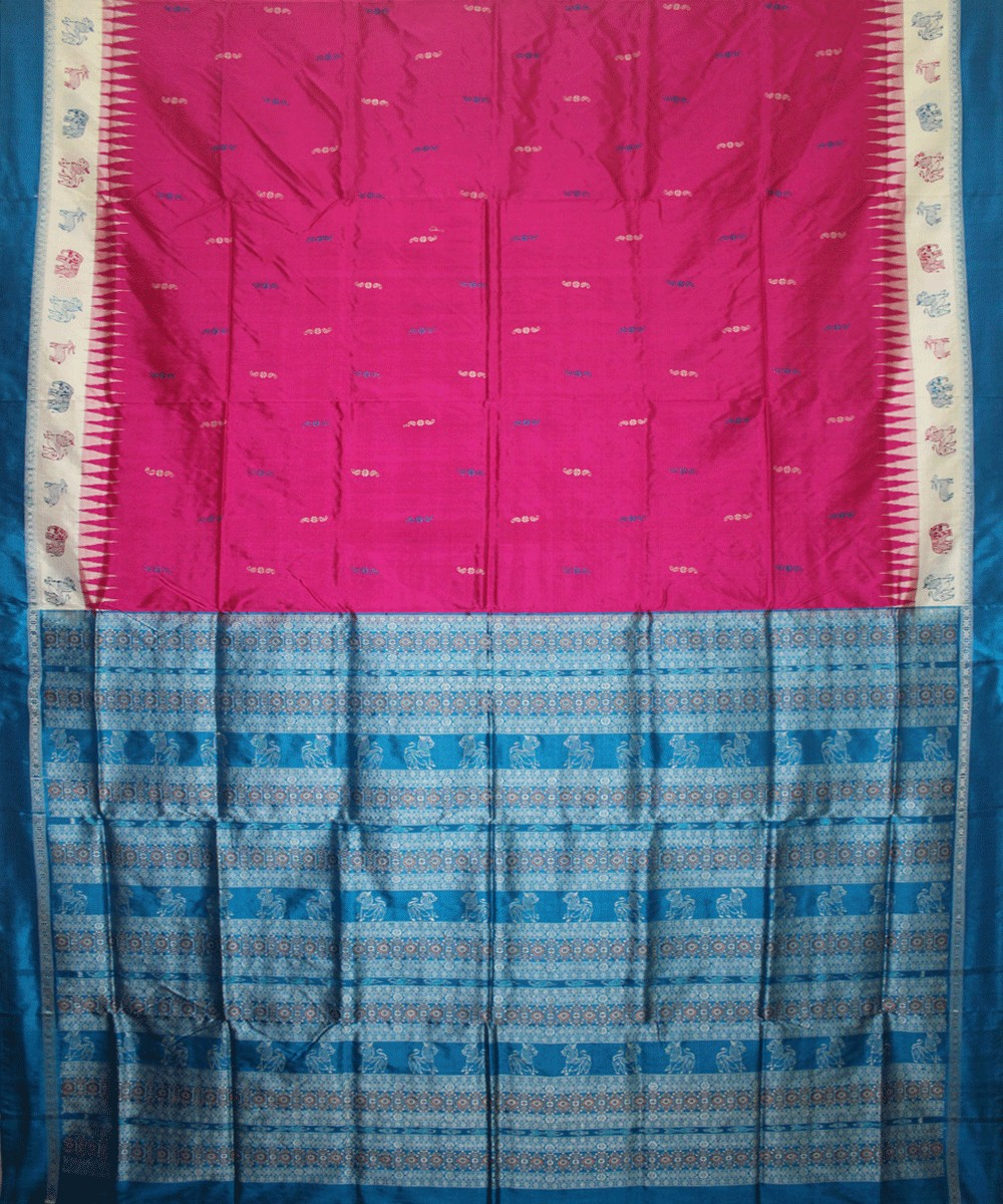 Handwoven Bomkai Silk Saree of Sonepur in Deep Pink and Ball Blue