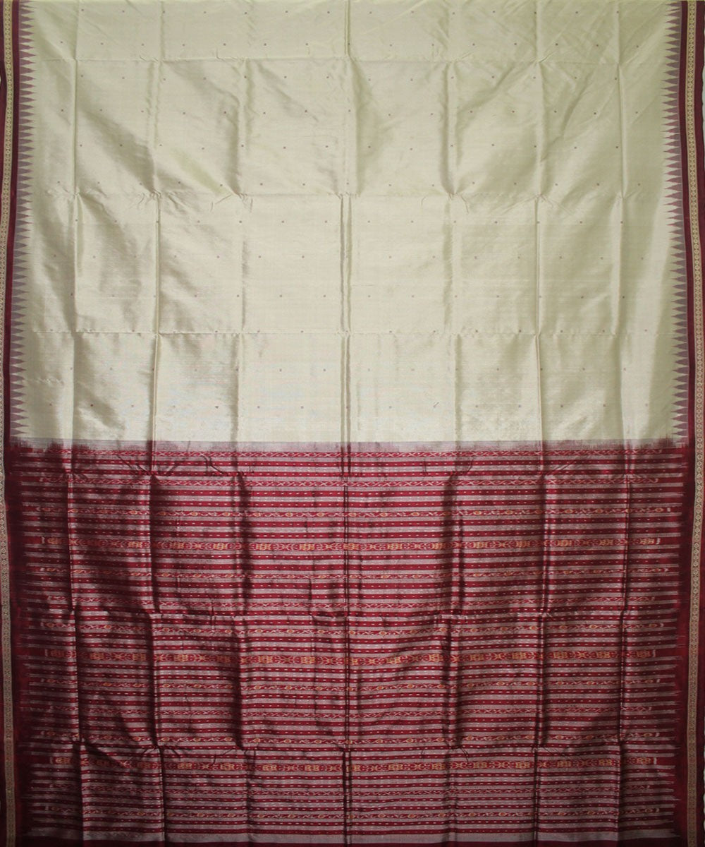 Handwoven Bomkai Silk Saree of Sonepur in Ash Grey and Maroon