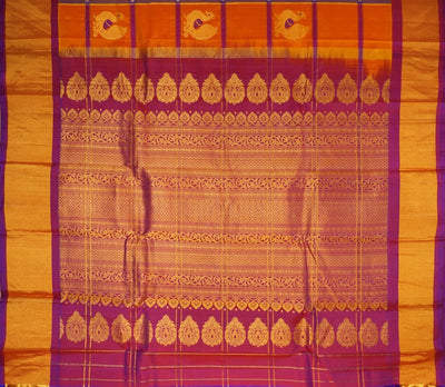 Handloom Pure Gadwal Silk Saree In Orange Shade With Peacock Motifs
