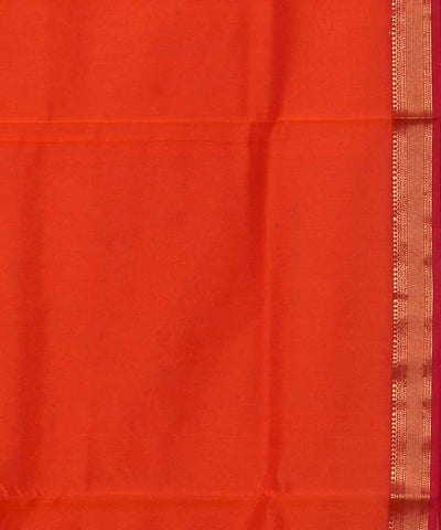 Maheshwari Handloom Orange Peach Sico Saree