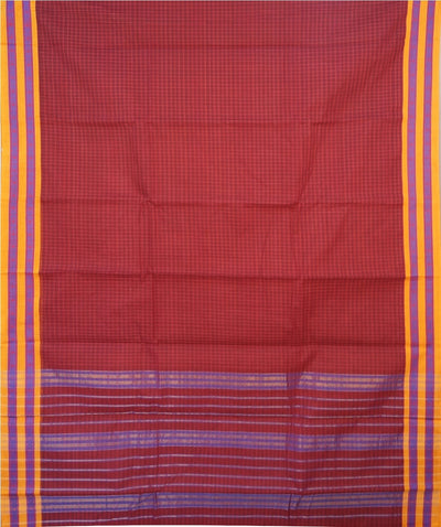 Dark Ruby Red Handwoven Narayanapeta Cotton Saree
