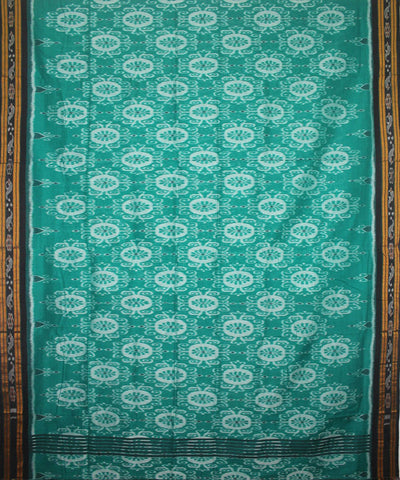 Handwoven Nuapatna Ikat Cotton Saree in Green and Black