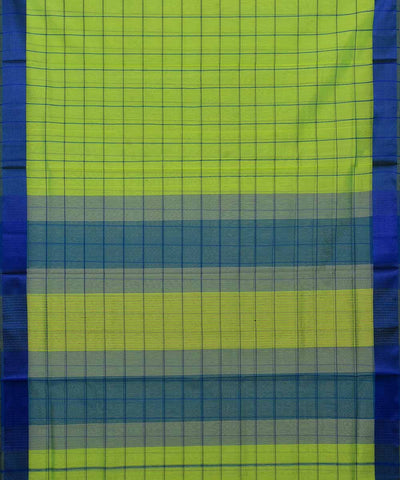 Maheshwari Handloom Green Check Sico Saree
