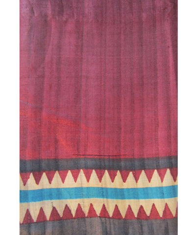 Cream and Maroon Tussar Saree