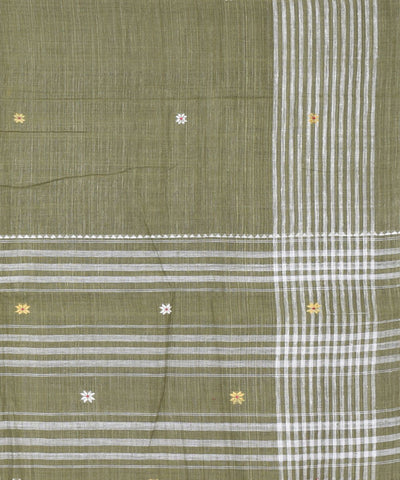 Natural Dyed Green Eri Silk Handloom Saree