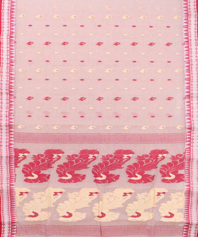 Bengal Handwoven Off White Red Tant Saree
