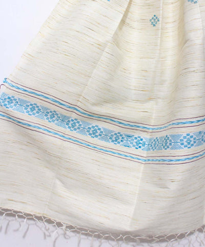 Tussar Silk Handloom Off White Shawl