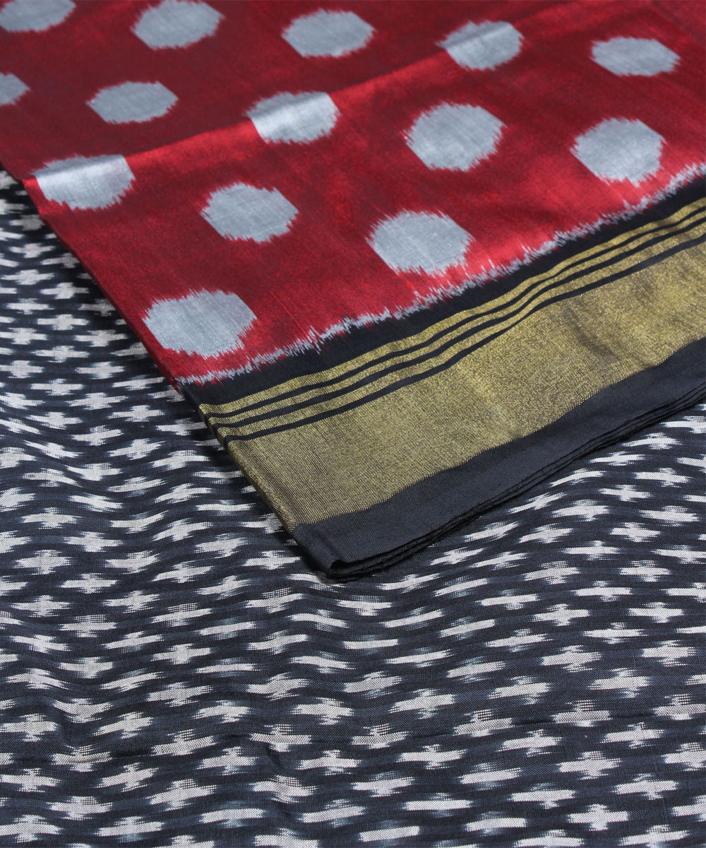 Handloom Red Black Ikkat Silk Saree