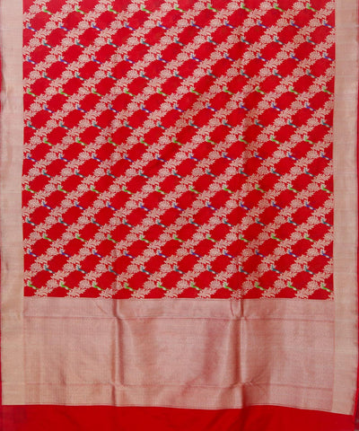 Banarasi Cherry Red Handloom Silk Saree