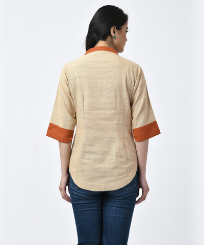 Beige and Rust Cotton Top