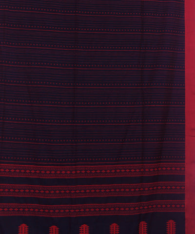 Bengal Handloom Navy and Pink Cotton Saree