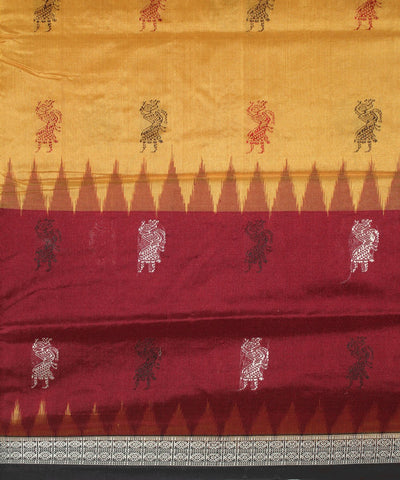 Handwoven Bomkai Silk Saree of Sonepur in Maroon and Black