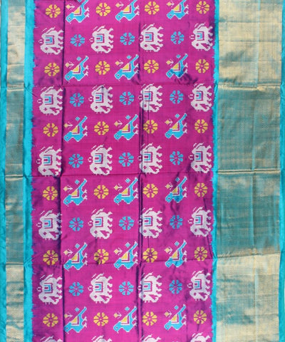 Dark Magenta AndTurquiose Green Color Handloom Ikat Rajkot Silk Saree