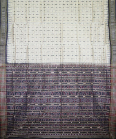 Handwoven Tussar Silk Saree of Gopalpur in Offwhite and Black