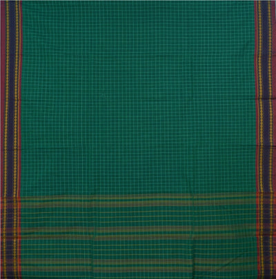 Dark Sea Green Handwoven Narayanapeta Cotton Saree