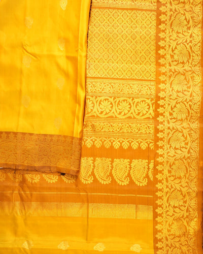 Handloom Pure Gadwal Silk Saree in Yellow Shade