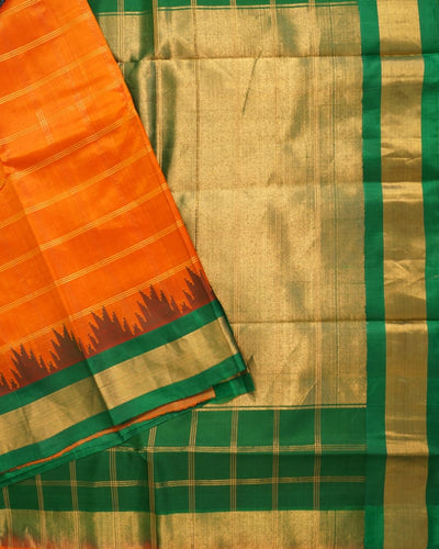 Handloom Pure Gadwal Silk Saree In Orange Shade