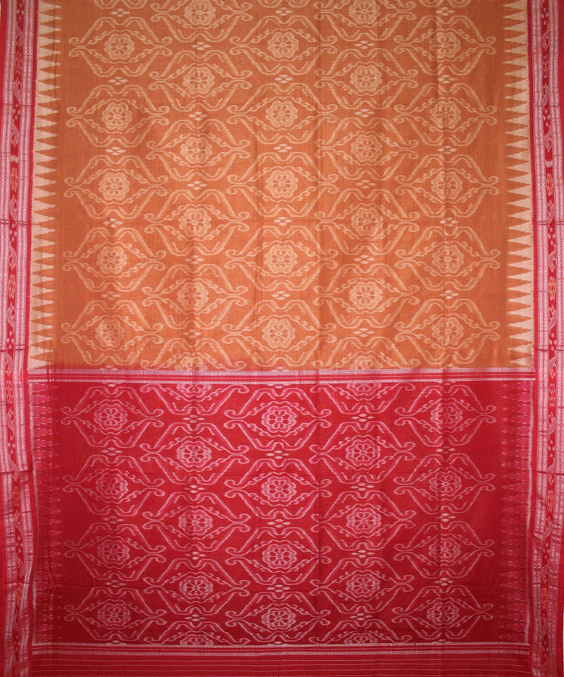 Handwoven Nuapatna Ikat Cotton Saree in Peru and Red