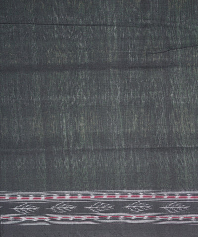 Handwoven Sambalpuri Ikat Cotton Saree in Parrot Green and Black