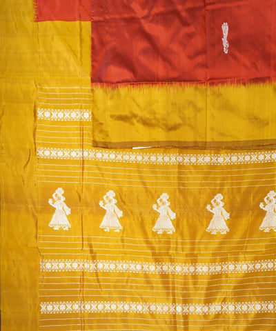 Red & Mustard Yellow Handloom Gollabama Silk Saree