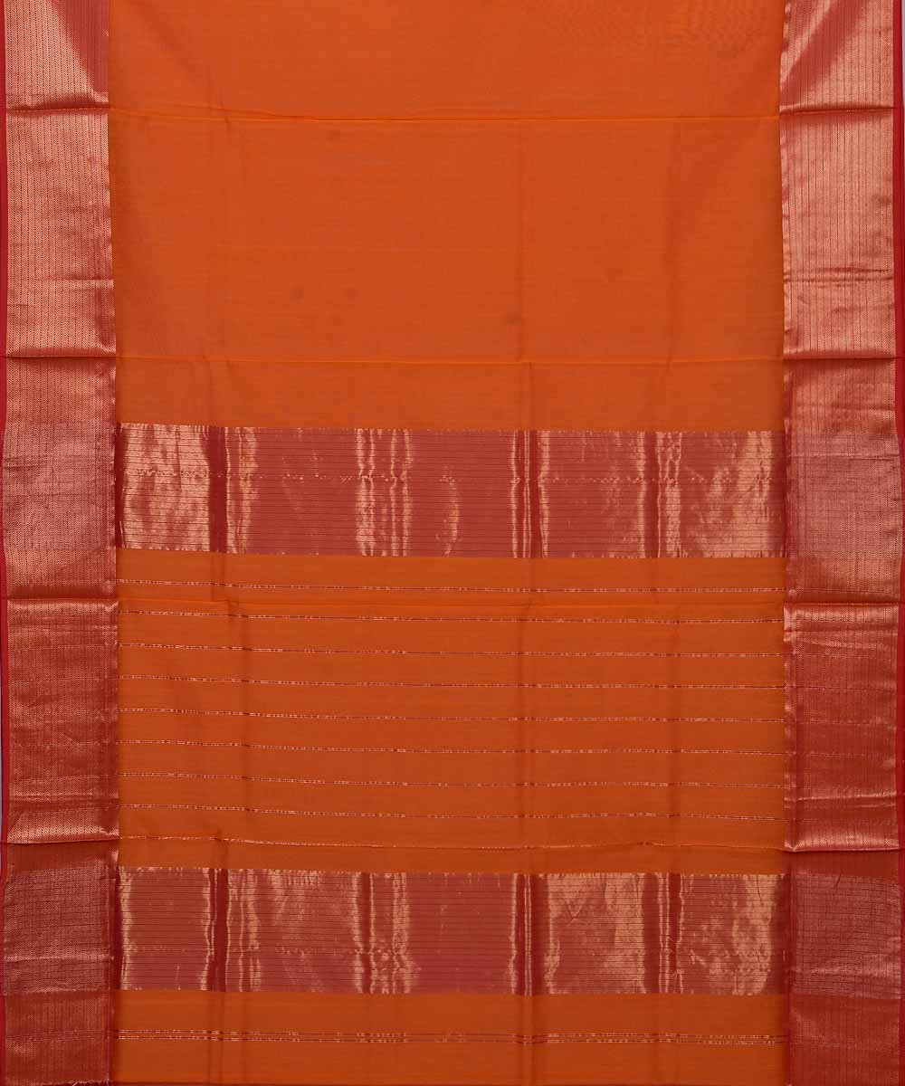 Maheshwari Handloom Dark Orange Sico Saree