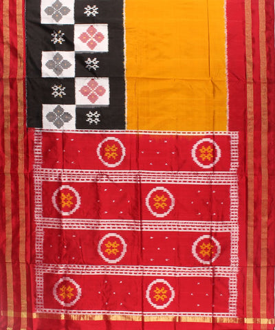 Check Box Design Handloom Ikat Rajkot Silk Saree
