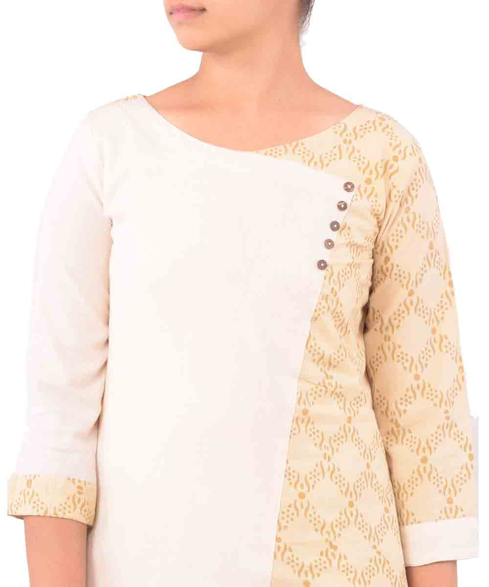 Beige With Cream Handwoven Ajrakh Kurti